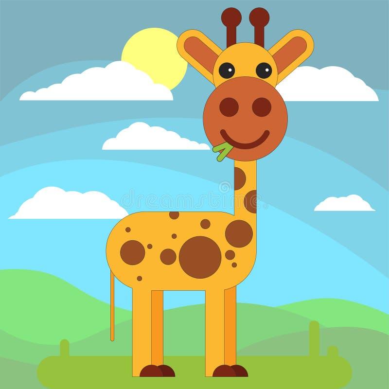 Żyrafa w kreskówki mieszkania stylu na tle łąki, słońce i chmury, ilustracja wektor