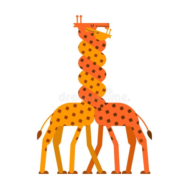 Żyrafy miłość Kręcone szyi Dwa żyrafy Wektorowi zwierzęta ilustracja wektor