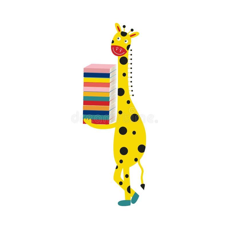 Żyrafy postać z kreskówki w butach stoi ono uśmiecha się i chwytów stos książki odizolowywać na białym tle royalty ilustracja