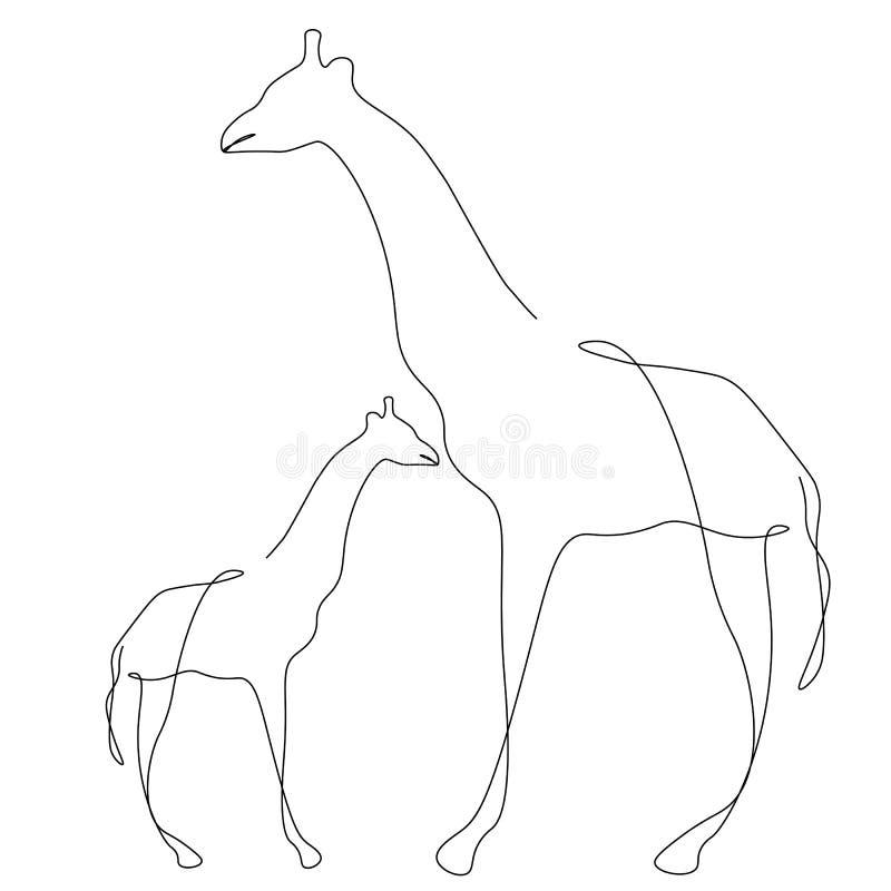 Żyrafy rodzinna sylwetka na białego tła kreskowego rysunku dzikim afrykańskim zwierzęcym wektorze ilustracja wektor