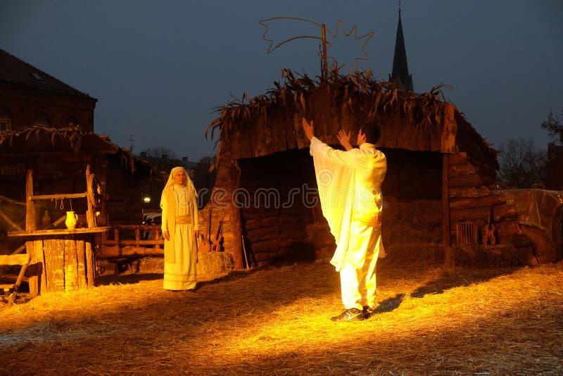 Żywa Bożenarodzeniowa narodzenie jezusa scena obrazy royalty free