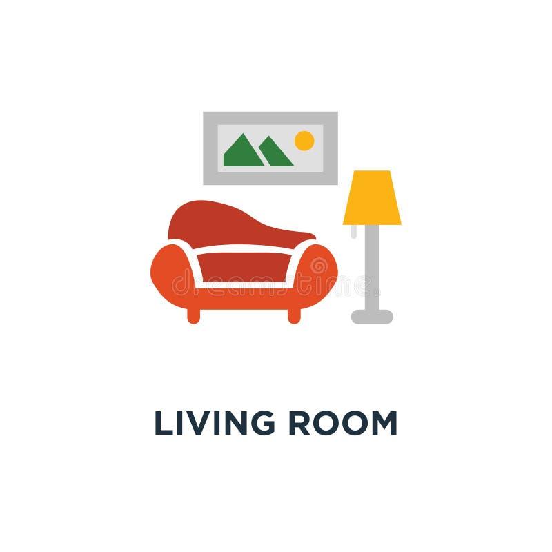 żywa izbowa wewnętrznego projekta ikona kanapy i podłogowej lampy pojęcia symbolu projekt, obrazek i roślina, puszkujemy, minimal ilustracja wektor