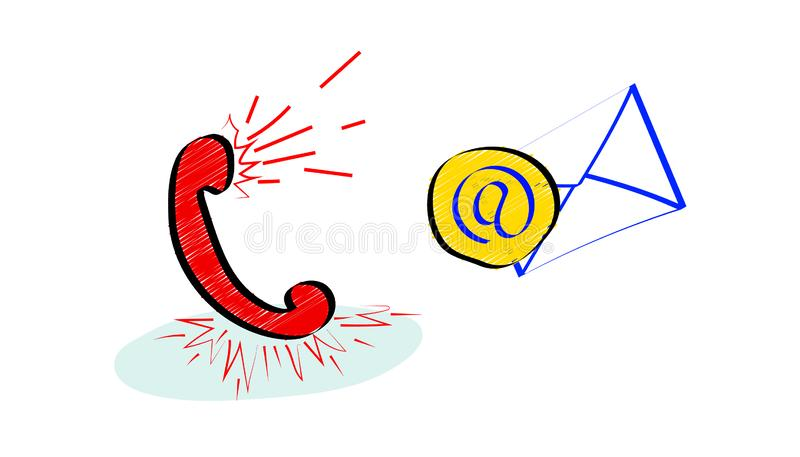 Żywa online obsługi klientej usługa z czerwonym handset w doodle stylu ustawić symbole ilustracja wektor