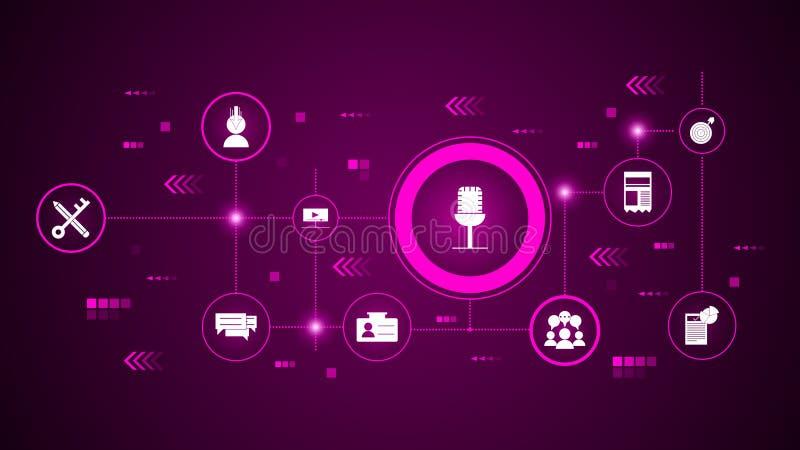 Żywa wydarzenie ikona Od Cyfrowego marketingu, promocja set ilustracja wektor