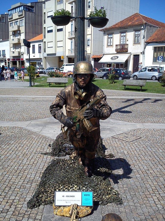 Żywe statuy w Espinho, Portugalia zdjęcie royalty free