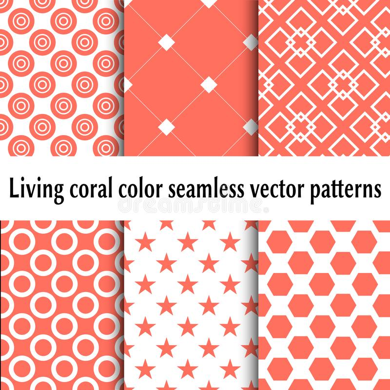 Żywego koralowego koloru wektoru bezszwowi wzory abstrakcjonistyczni ustalić tła Żywy Koralowy kolor 2019 ilustracja wektor