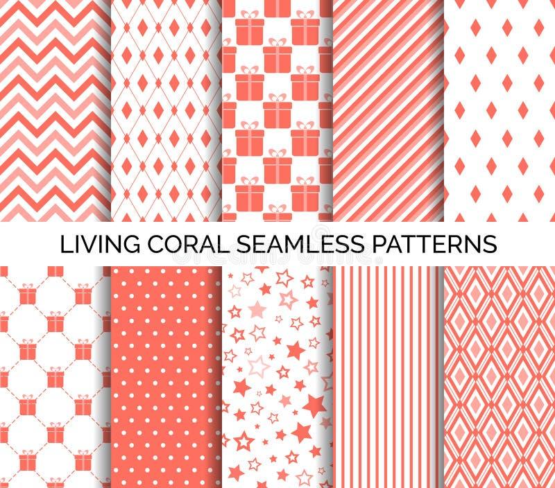 Żywego koralowego koloru wektoru bezszwowi wzory abstrakcjonistyczni ustalić tła ilustracji