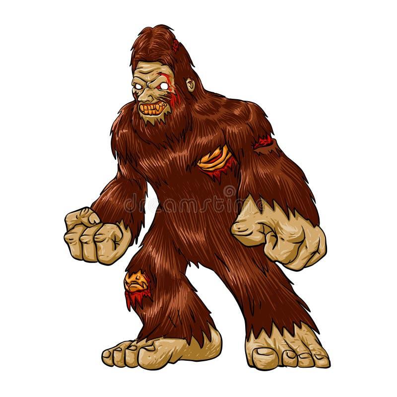 Żywego trupu Bigfoot potwór royalty ilustracja