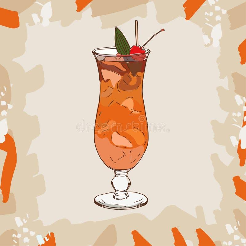 Żywego trupu koktajl z pomarańczowym klinem i czereśniowym garnirunkiem Alkoholiczna klasyka baru napoju ręka rysująca Wystrzał s ilustracja wektor