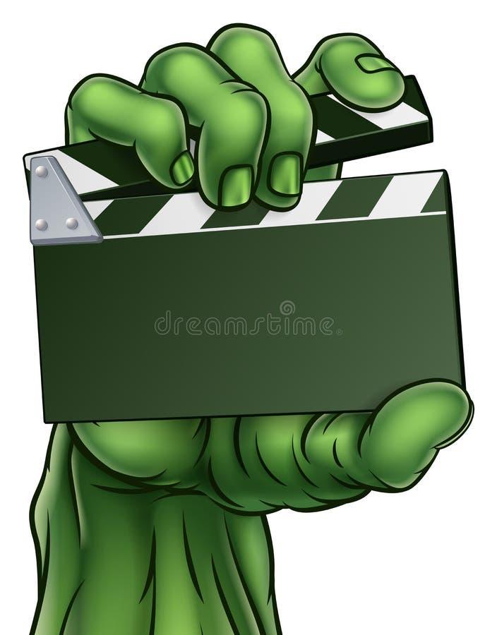 Żywego trupu potwora horroru filmu Clapper deska ilustracja wektor