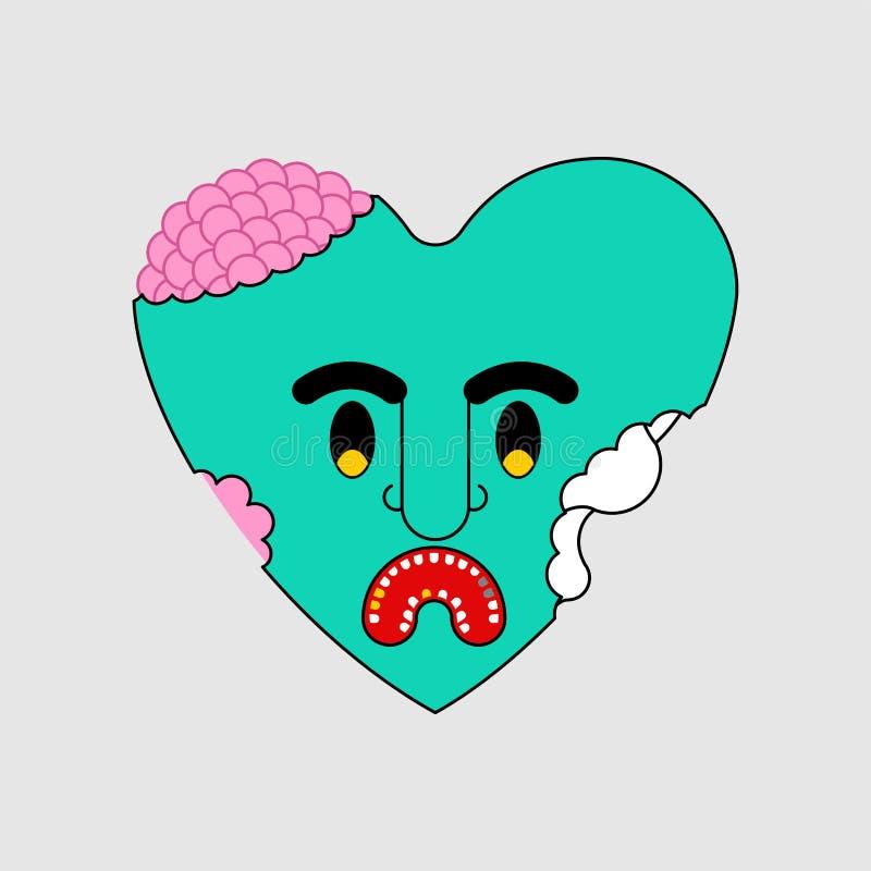 Żywego trupu serca zieleni miłość Nieżywa amour wektoru ilustracja ilustracji