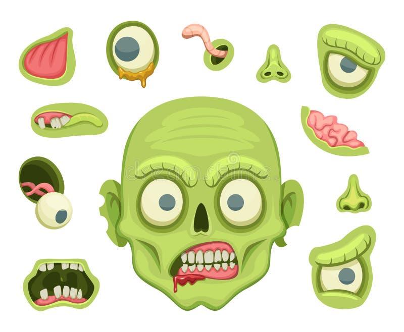 Żywego trupu tworzenia zestaw Straszny portret z różnymi częściami dla Halloween przyjęcia ilustracja wektor