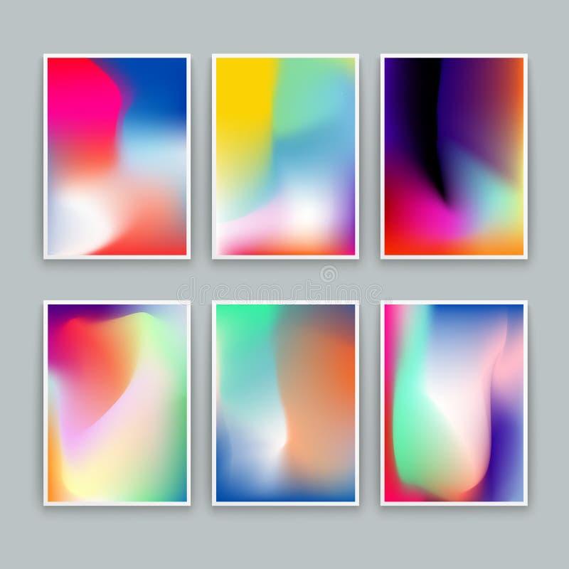 Żywi Gradientowi tła Set wektorowi kolorowi plakaty ilustracja wektor