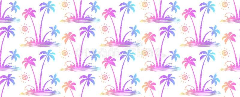 Żywi kolory wręczają patroszonemu tropikalnemu drzewko palmowe rocznikowi wektorowego bezszwowego wzór ilustracji