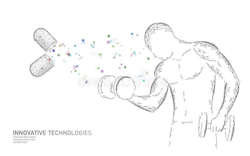 Żywienioniowego nadprograma witaminy bodybuilding kapsuła Sprawność fizyczna kształta leka medycyny nauki chemii innowacji techno royalty ilustracja