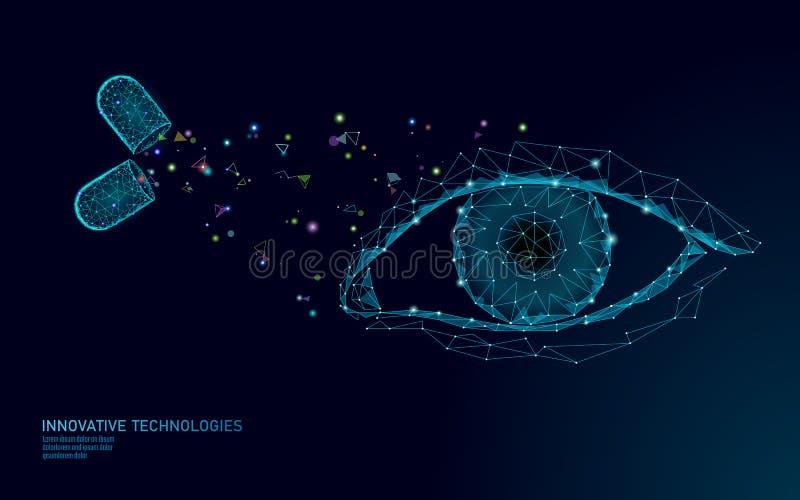 Żywienioniowego nadprograma witaminy wzroku kapsuła Oko opieki zdrowotnej leka medycyny nauki chemii innowacji jasna technologia ilustracja wektor