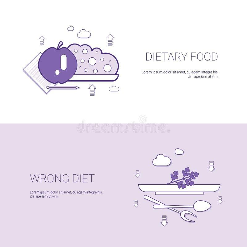 Żywienioniowy jedzenie I Mylny diety pojęcia szablonu sieci sztandar Z kopii przestrzenią royalty ilustracja