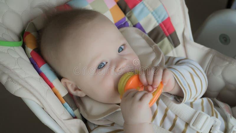 żywieniowa śliczna mała chłopiec z nibbler, zbliżenie obrazy royalty free