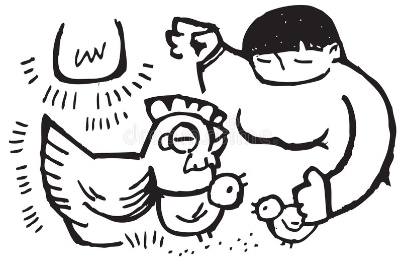 Żywieniowi dama kurczaki ilustracji