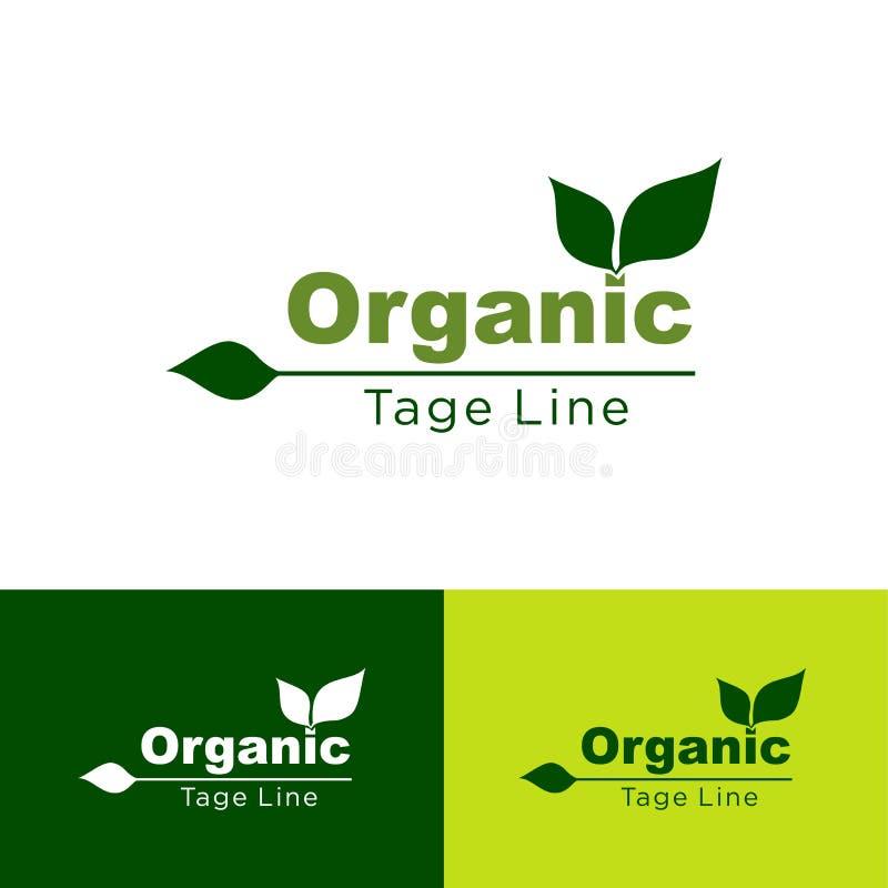Żywność organiczna, gospodarstwo rolne produktu ikony Organicznie, świeżego i naturalnego, logo Naturalny, liścia zielona ikona,  royalty ilustracja