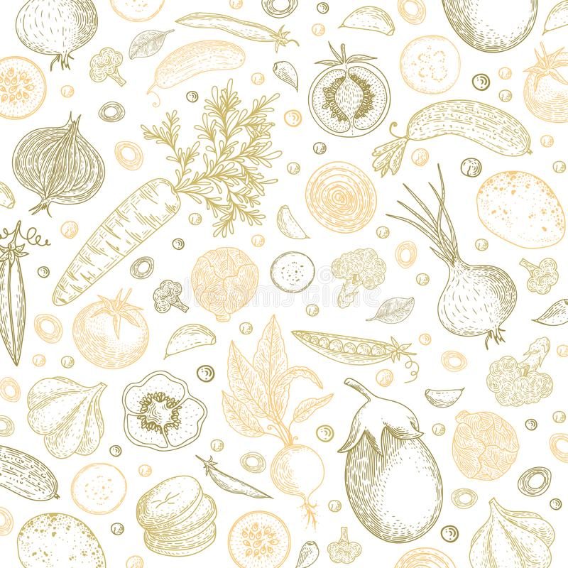 Żywność organiczna projekta szablon Pastelowy warzywa tło Szczegółowy jarski karmowy rysunek Rolny targowy produkt wielki ilustracji