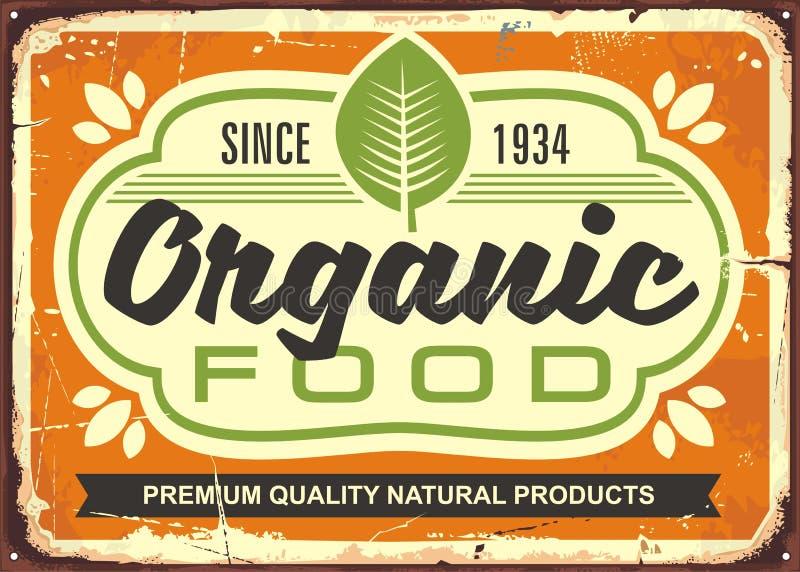 Żywność organiczna retro szyldowy plakat ilustracja wektor