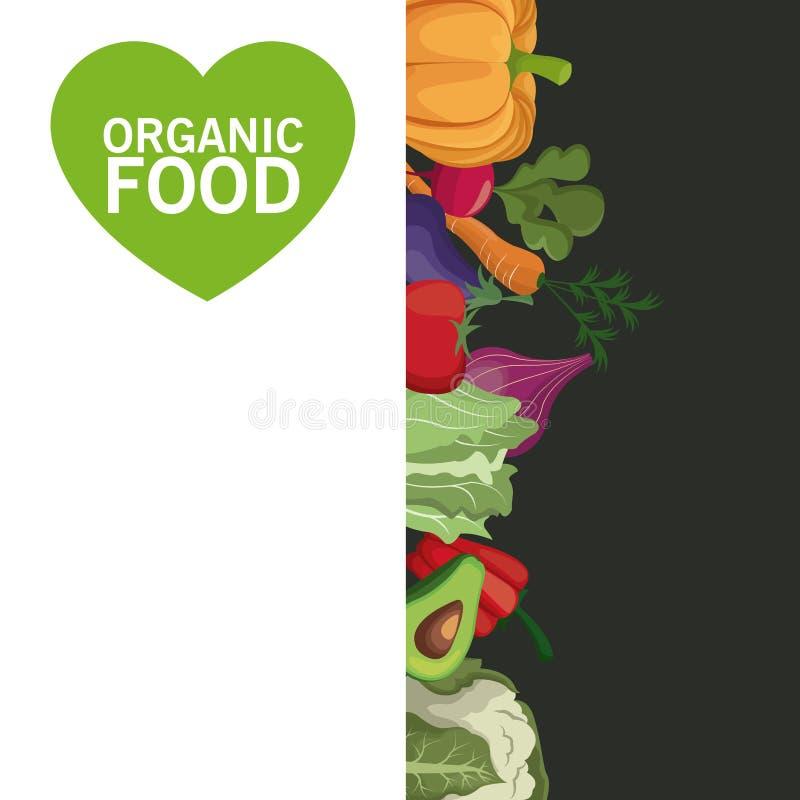 Żywność organiczna warzyw żniwa karciany wizerunek royalty ilustracja