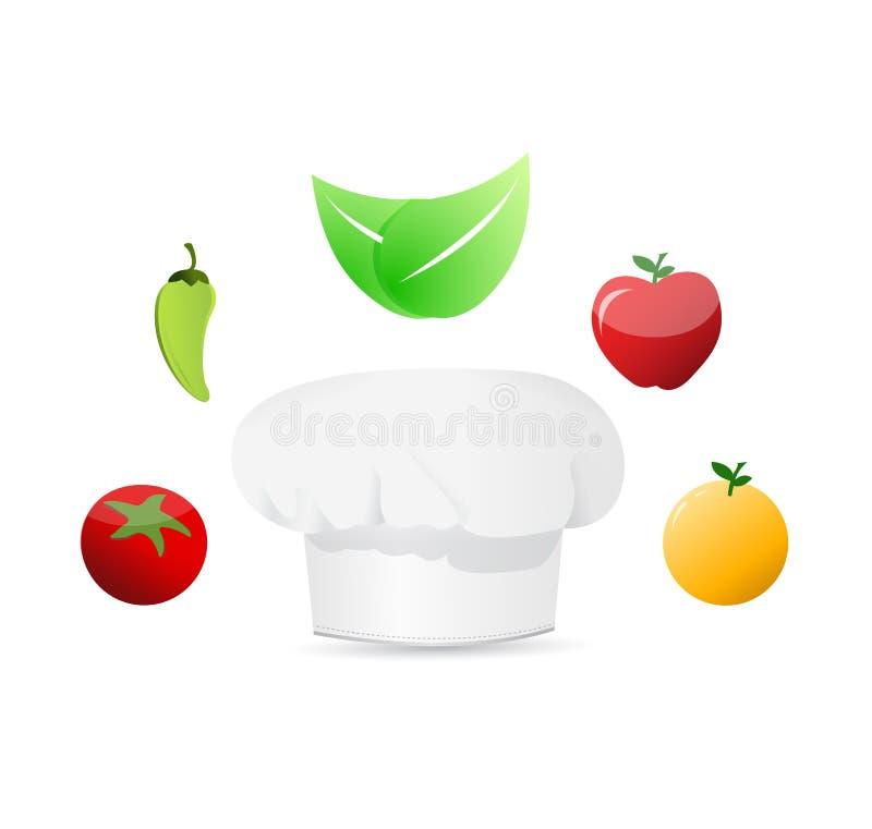 żywność organiczna wokoło biali szefowie kuchni kapeluszowi royalty ilustracja