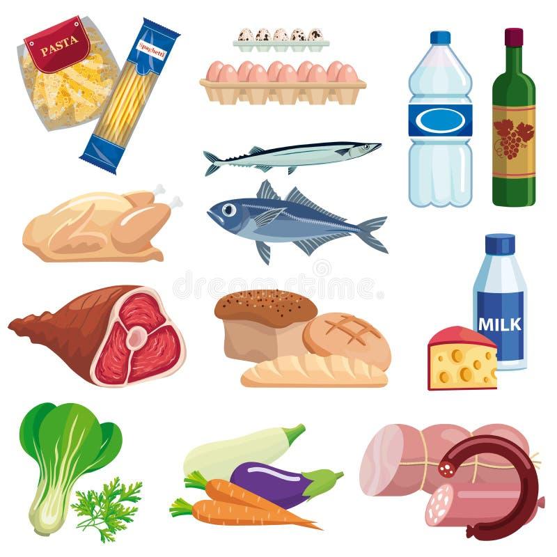 żywność set barwione wektorowe ikony na bielu ilustracja wektor
