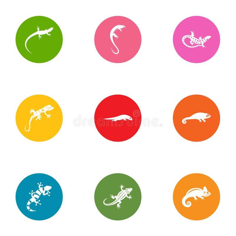 Żyworodne jaszczurek ikony ustawiać, mieszkanie styl ilustracja wektor