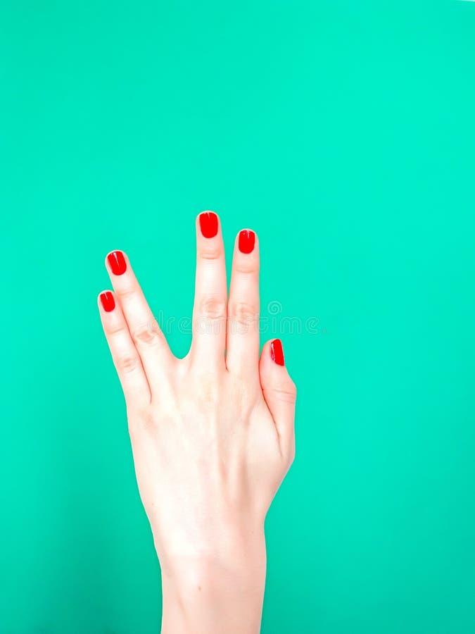 Żywy Długi I Prosperuje ręka znaka Używać gdy ty chcesz przenosić prawdziwego positivity ?e?ska r?ka pokazuje Vulcan salut obrazy stock