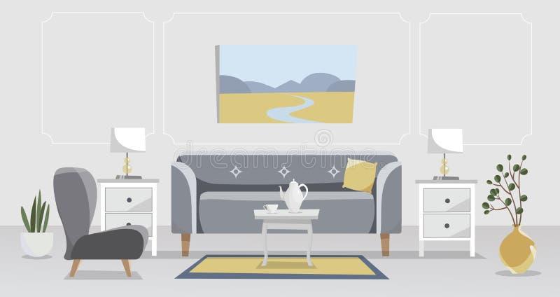 Żywy izbowy elegancki wnętrze w popielatym i żółtym Kanapa z stołem, nightstand, obrazy, lampy, waza, kwiat w garnku, dywan, ilustracji