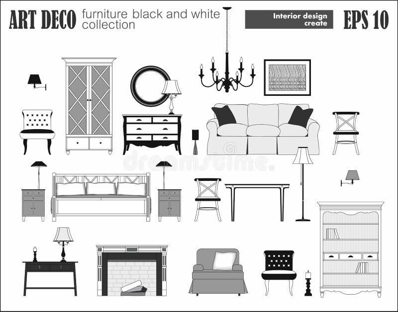 Żywy Izbowy meble set Art Deco kolekcja ilustracji