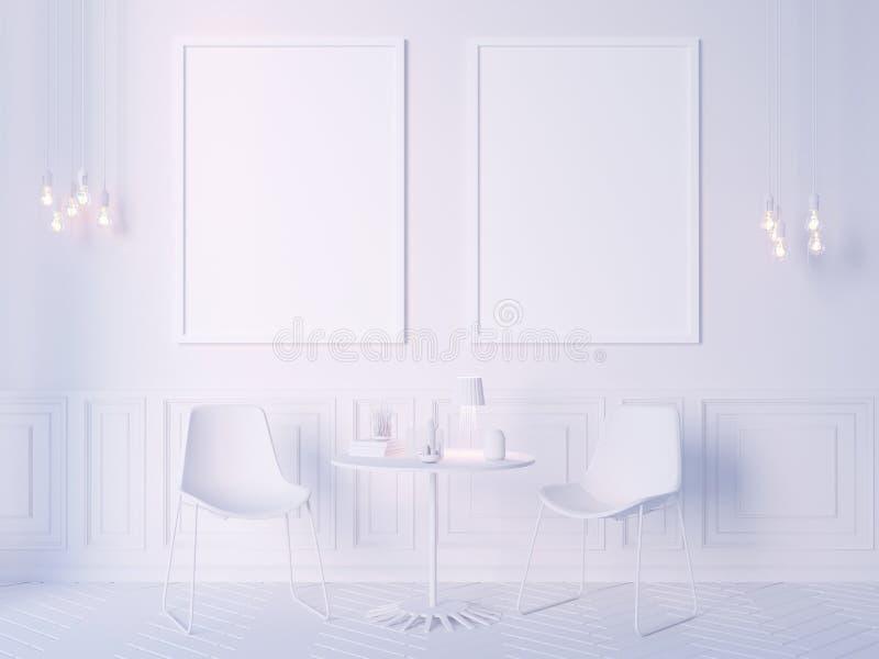 Żywy izbowy wewnętrznej ściany egzamin próbny up na białym tle, 3D rendering, 3D ilustracja ilustracja wektor