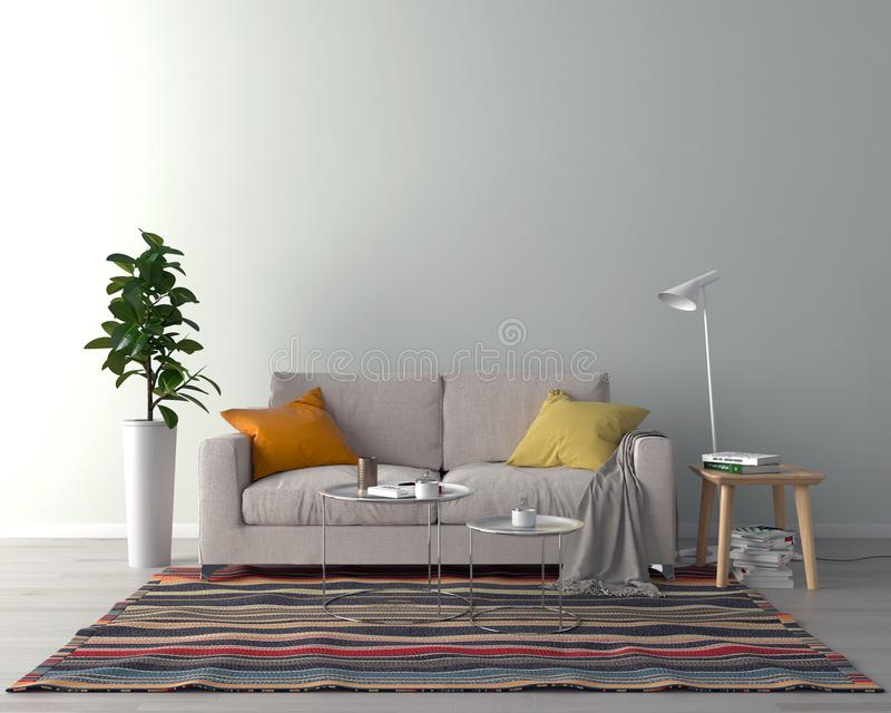 Żywy izbowy wnętrze - opróżnia ściennego tło ilustracja wektor