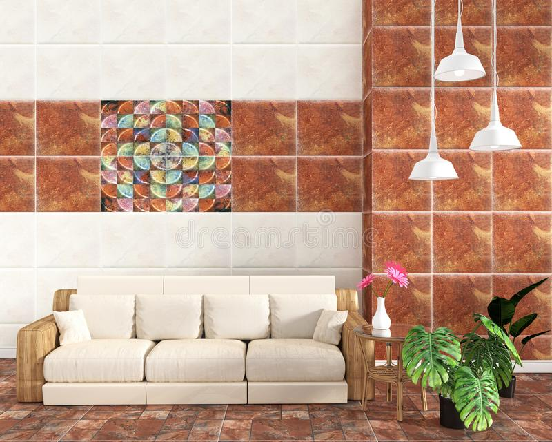 Żywy izbowy wnętrze z dachówkowym klasycznym tekstury ściany tłem na dachówkowej brąz podłodze, minimalni projekty, 3d rendering ilustracja wektor