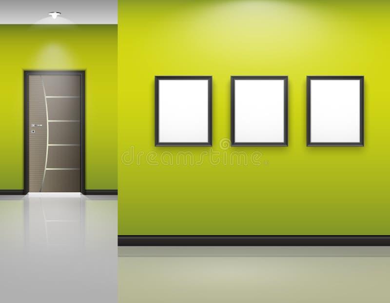 Żywy izbowy wnętrze z ramami i zamknięty drzwi na zieleni ilustracja wektor
