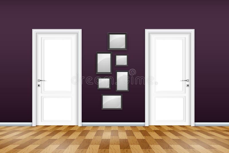Żywy izbowy wnętrze z zamkniętym drzwi i opróżnia ramy na purpury ścianie royalty ilustracja