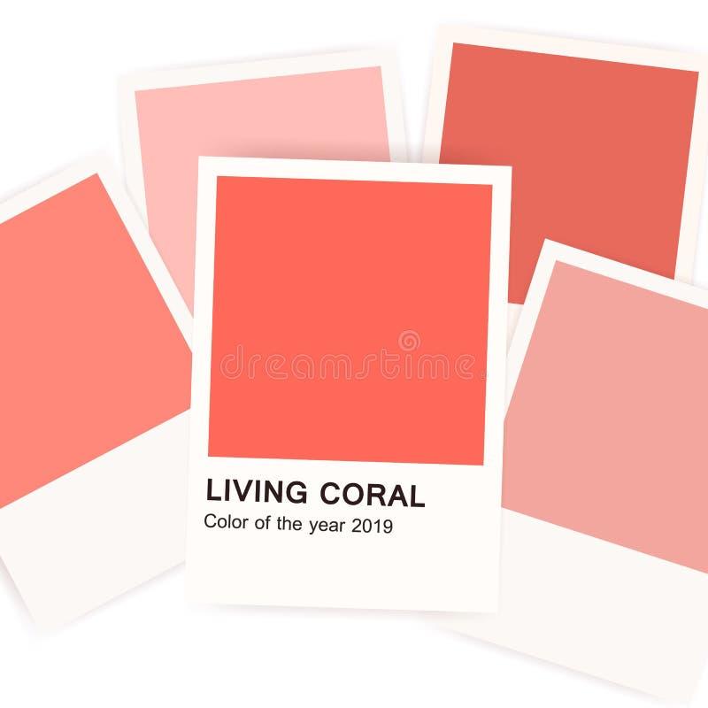 Żywy koral - kolor 2019 rok Sztandar z próbkami, swatches lub odniesienie kartami na białym tle, Menchie lub czerwień ilustracja wektor