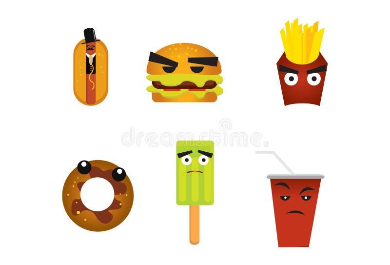 żywy nadchodzący fast food royalty ilustracja