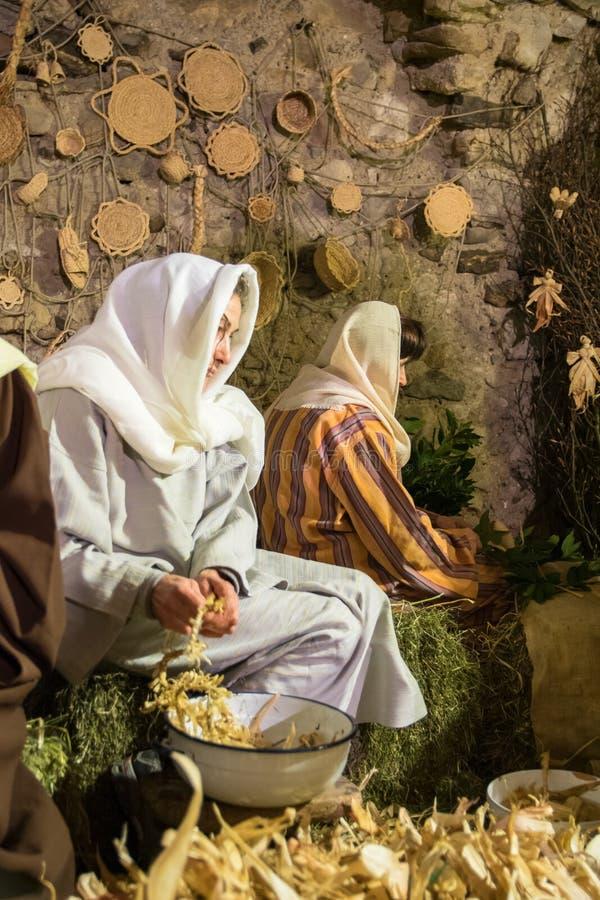 Żywy narodzenie jezusa w Canale Di Tenno, Włochy obraz stock