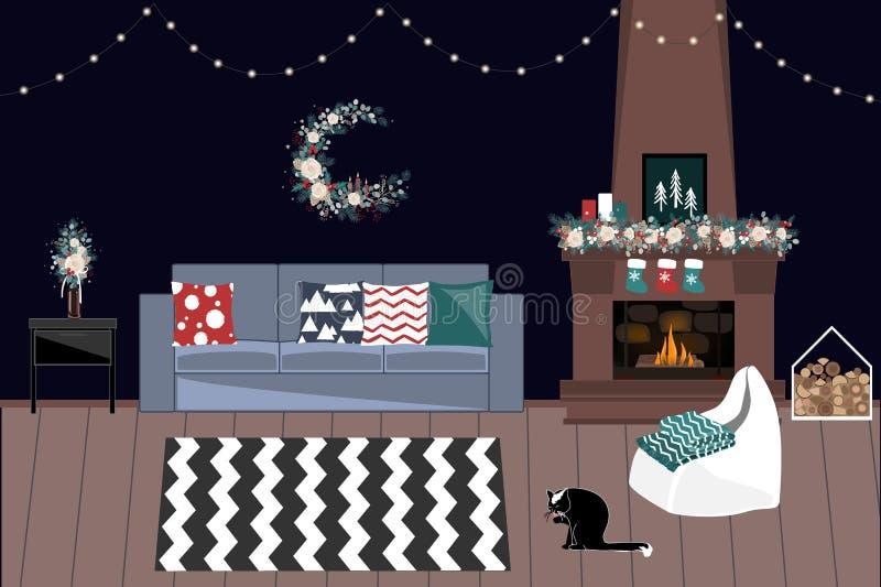 Żywy pokój Dekorujący Dla bożych narodzeń I nowego roku Z grabą, girlandami i zima bukietami, Wakacje Stwarzają ognisko domowe wn ilustracja wektor