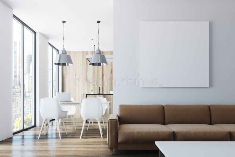 Żywy pokój i jadalnia, plakat ilustracja wektor