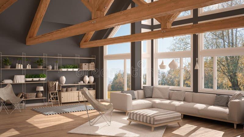 Żywy pokój luksusowy eco dom, parkietowa podłoga t i drewniany dach, royalty ilustracja