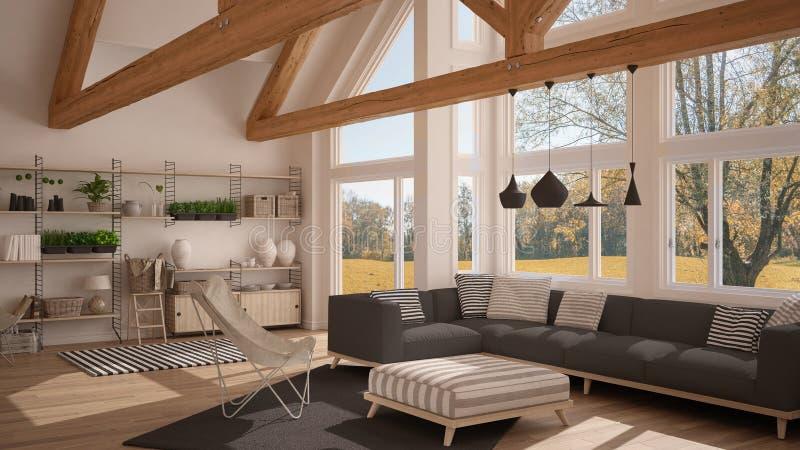 Żywy pokój luksusowy eco dom, parkietowa podłoga t i drewniany dach, ilustracja wektor