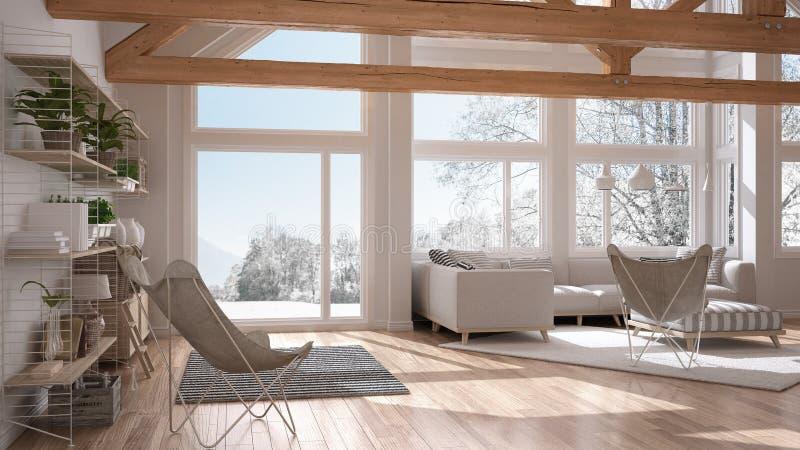 Żywy pokój luksusowy eco dom, parkietowa podłoga t i drewniany dach, ilustracji