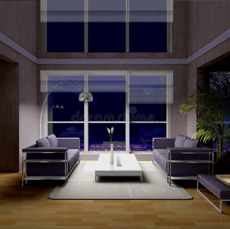 Żywy pokój przy nocą ilustracja wektor