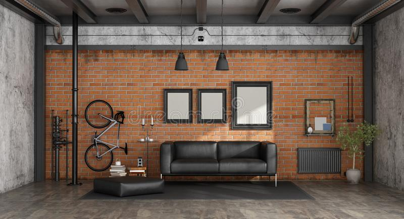 Żywy pokój w loft royalty ilustracja