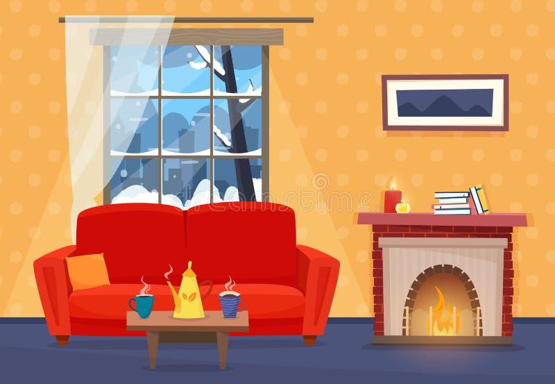 Żywy pokój z meble Wygodny wnętrze z kanapą, okno z zima krajobrazem i grabą, royalty ilustracja