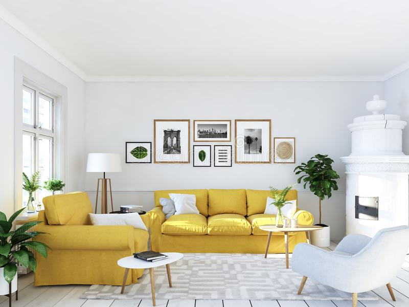 Żywy pokój z obrazek grabą i ramami świadczenia 3 d royalty ilustracja